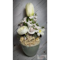 Menta-fehér tavaszi dísz, nyuszis