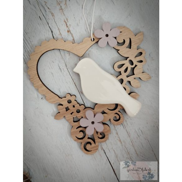 Porcelán madaras fa szív II, lila