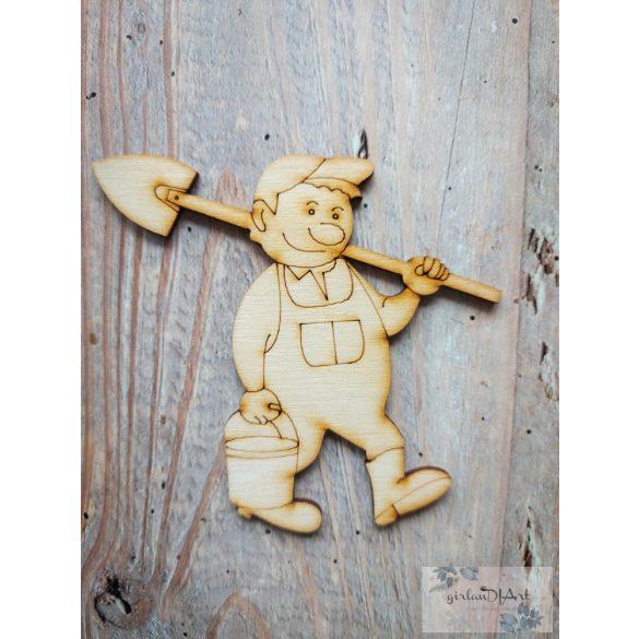 Festhető kerti figura, ember ásóval