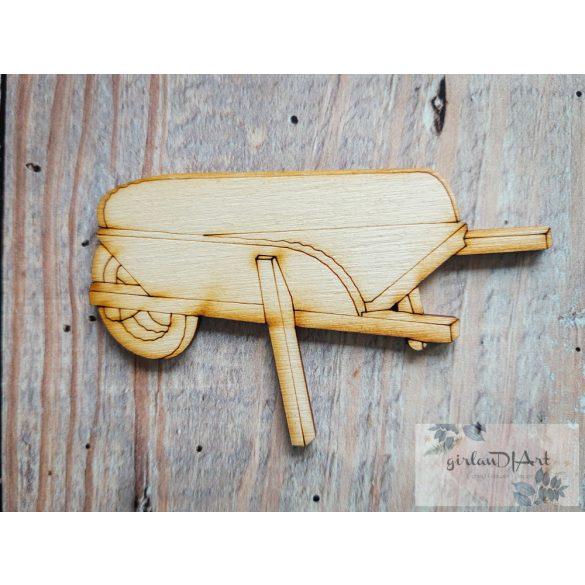 Festhető kerti figura, talicska