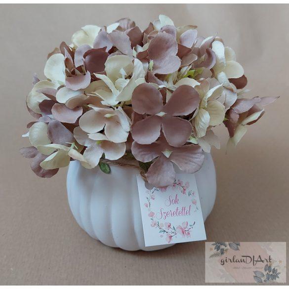 Dekor virágos kaspó, hortenziával